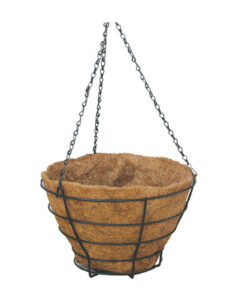 Κρεμαστή μεταλλική γλαστροθήκη με γλάστρα κοκοφοίνικα