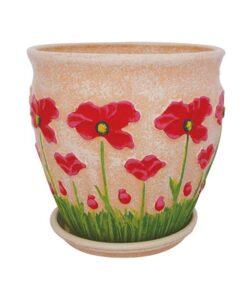 Χρωματιστή εκρού γλάστρα με ζωγραφιστή παπαρούνα κόκκινη