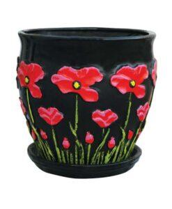 Χρωματιστή μαύρη γλάστρα με ζωγραφιστή παπαρούνα κόκκινη