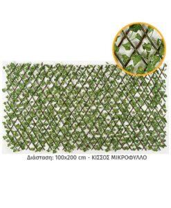 Ξύλινη πέργολα με τεχνητό φυτό