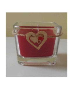 Γυάλινο βαζάκι με χειροποίητο κερί (παραφίνη) και ξύλινη καρδιά