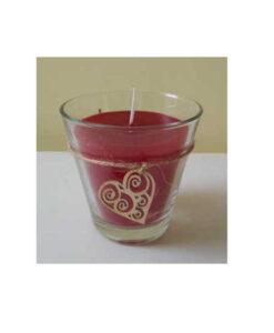 Γυάλινο βαζάκι με χειροποίητο κερί (παραφινη) με διακοσμητική ξύλινη καρδιά