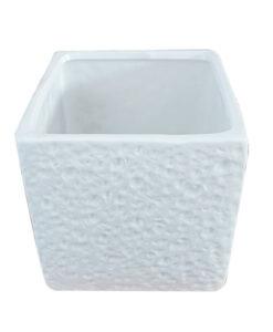Πήλινο κύβος λευκός με μοτίβο τοίχου -16Χ16Χ16 cm